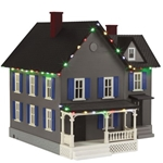RailKing  30-90521 #6 Farm House w/Operating Christmas Lights - Gray & Blue Shutter