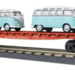 30-76678 MTH RailKing Flat Car w/(2) 'VW Bus