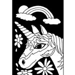 Velvet Color-In Poster - Unicorn Face - 6 x 9 inches