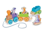 First Play Wooden Rocking Farm Animals Pull Train