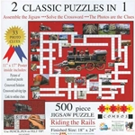 Riding the Rails Jigsaw Puzzle-Crossword Combo -- 500 Pieces, 18 x 24""