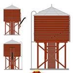 Broadway Limited  HO Scale Operating Water Tower w/Sound  Unlettered Barn Red