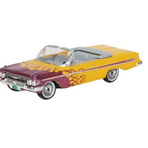 1961 Chevy Impala Convertible - Assembled -- Top Down (yellow, red flames)
